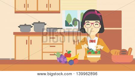 An asian young woman cooking vegetable salad on the background of kitchen. Smiling woman adding spices in salad. Vector flat design illustration. Horizontal layout.