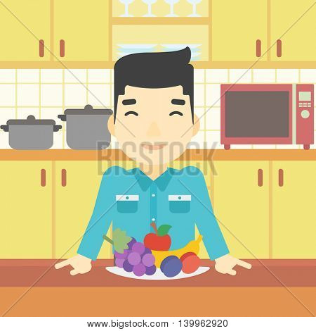 An asian man standing in front of table full of fresh fruits in the kitchen. Man with plate full of fruits. Vector flat design illustration. Square layout.