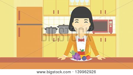 An asian woman standing in front of table full of fresh fruits in the kitchen. Woman with plate full of fruits. Healthy food concept. Vector flat design illustration. Horizontal layout.