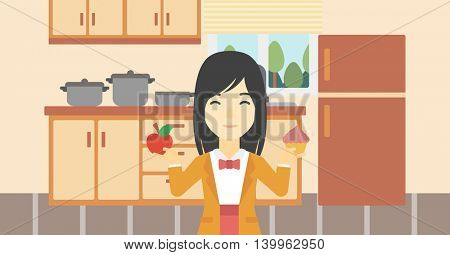 An asian young woman standing with apple and cupcake in hands in the kitchen. Woman choosing between apple and cupcake. Dieting concept. Vector flat design illustration. Horizontal layout.
