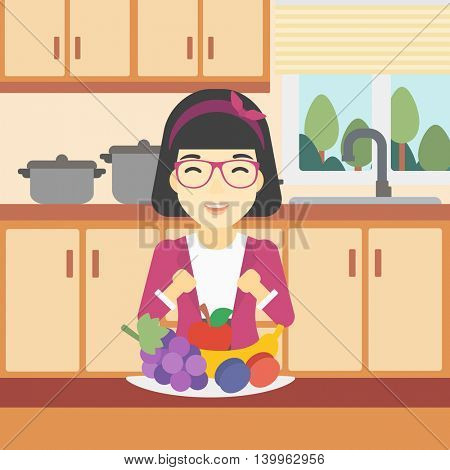 An asian woman standing in front of table full of fresh fruits in the kitchen. An excited young woman eating fruits. Healthy food concept. Vector flat design illustration. Square layout.