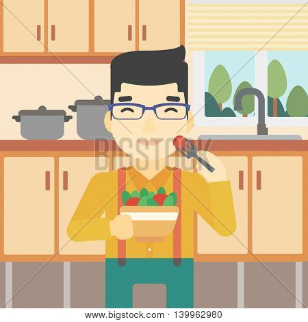 An asian man eating healthy vegetable salad. Young man eating fresh vegetable salad at home. Man holding bowl full of salad in the kitchen. Vector flat design illustration. Square layout.