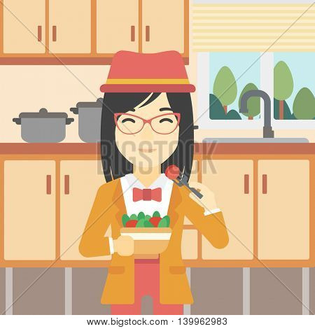 An asian woman eating healthy vegetable salad. Woman eating fresh vegetable salad at home. Woman holding bowl full of salad in the kitchen. Vector flat design illustration. Square layout.