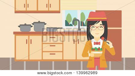 An asian woman eating healthy vegetable salad. Woman eating fresh vegetable salad at home. Woman holding bowl full of salad in the kitchen. Vector flat design illustration. Horizontal layout.