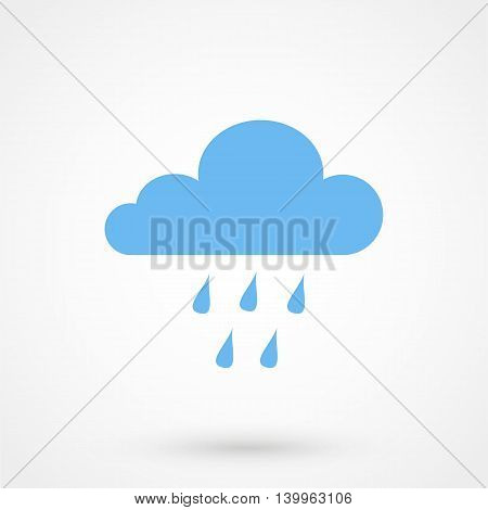 Blue Cloud Rain Icon On A White Background. Simple Vector Illustration