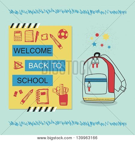 Welcome Back To School blue and yellow message with school bag and stationery icons