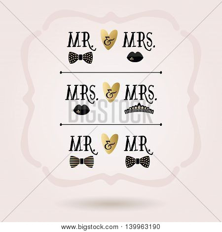 Black and golden abstract conceptual Mr. & Mrs. icons set on pink gradient background