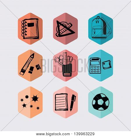 Inky black hand drawn school supplies and stationery hexagon icons set on off white background