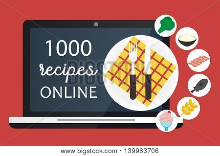 Online cooking recipes websites. Vector flat app illustration
