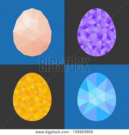 Different of low poly and geometric eggs