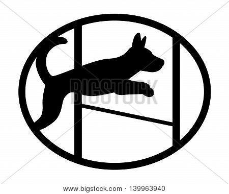 Agiliti sport dog cute mascot silhouette Jumping dog