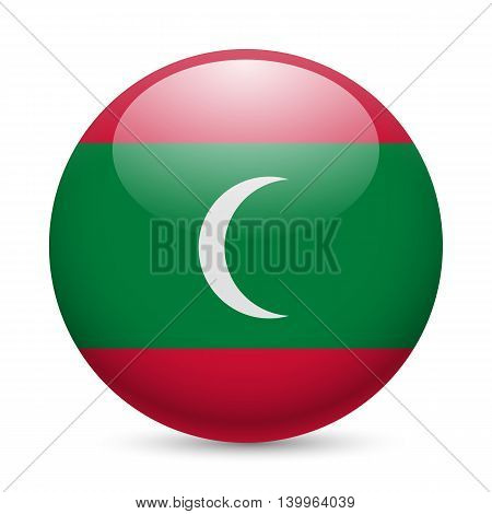 Flag of Maldives as round glossy icon. Button with Maldivian flag