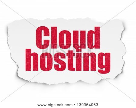Cloud computing concept: Painted red text Cloud Hosting on Torn Paper background with  Hexadecimal Code
