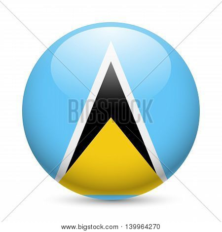 Flag of Saint Lucia as round glossy icon. Button with flag design