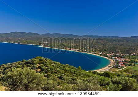 View of Toroni bay, aerial photo at morning from the top of a hill, Sithonia, Greece