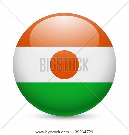 Flag of Niger as round glossy icon. Button with Nigerien flag