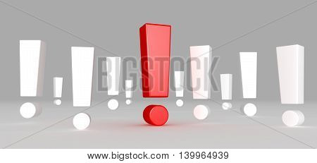 3D illustration of Red exclamation mark standing out from white exclamation marks