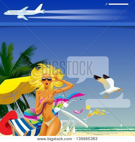 Travel and voyage web site and page template with a topless girl in the sea beach and airplane