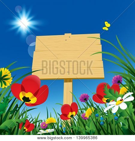 Wooden rustic signboard with green grass and wild flowers against the blue sky