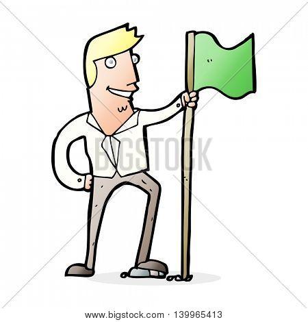 cartoon man planting flag
