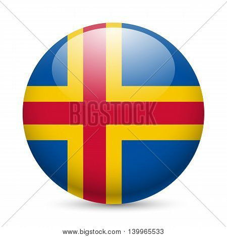 Flag of Aland Islands as round glossy icon. Button with flag design