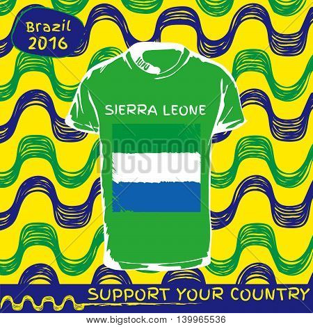 Hand drawn vector. vector pattern with t-shirt with country flag. Support your country. Sierra Leone national flag.
