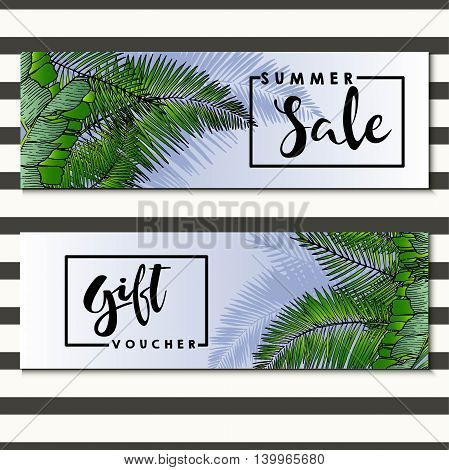 Set of vector flyer for summer sale and gift voucher Decorated with trendy exotic palm leaves. Square text border template. Hand drawn art.