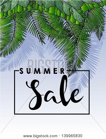 Vector flyer of summer sale. Decorated with trendy exotic plants and palm leaves. Square text border template. Hand drawn vintage art.