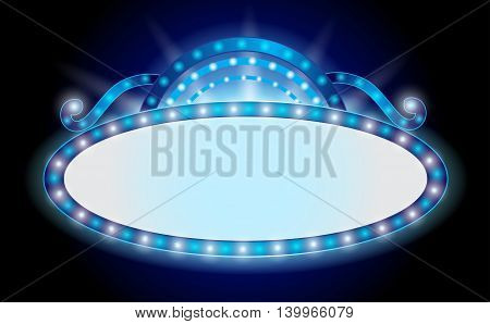 Brightly theater glowing cinema neon sign isolated on a black background