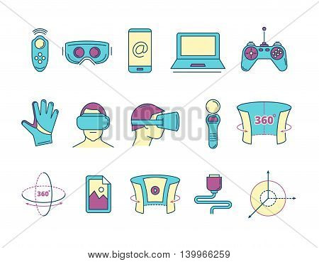set of color linear icons virtual reality accessories. 360 degree view. Rotation arrows. Gloves and helmet. Illustrations isolate on light background