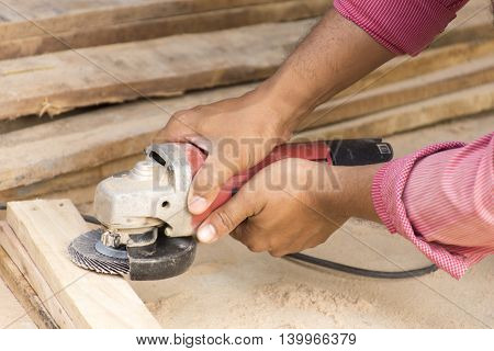 Man working with Chippers  on cement floor  suitable for background craftsman tool or background man working and etc.