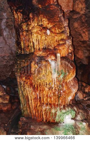 Bellamar caves (Cuevas de Bellamar) Cuba. Underground geological landmark with different types of stalactites and stalagmites.