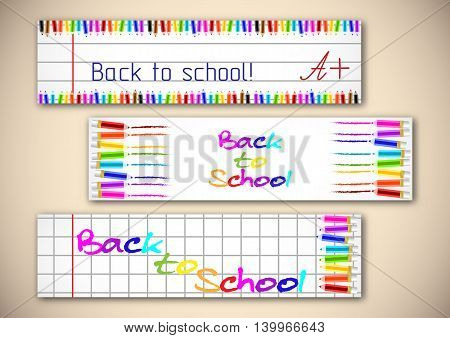 School banners with colorful pencils on page of copybook in cage and line. Back to school. Vector illustration