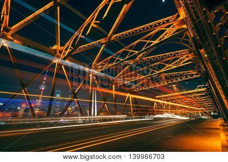 blurred light trails at waibaidu bridge,shanghai china.