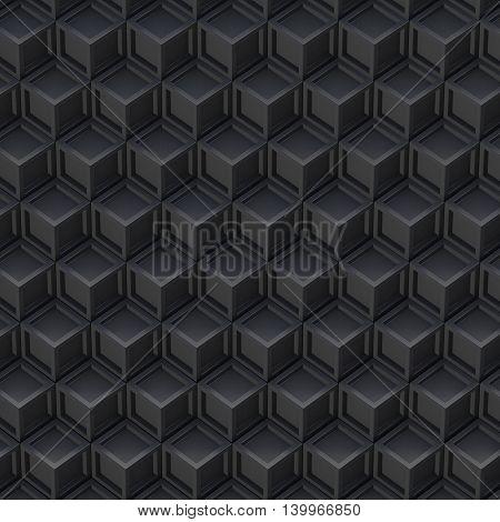 Black cube abstract background. 3D render illustration