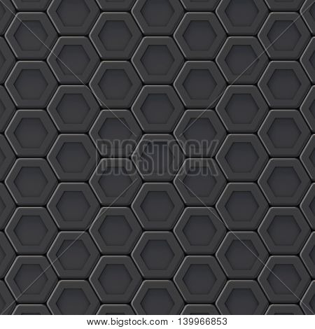 Black abstract hexagonal background. 3D render illustration