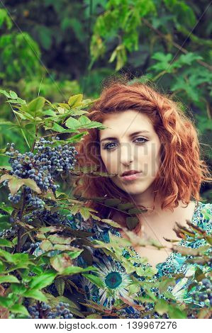 Girl with red curly hair and blue floral dress standing next to poisonous blue berries. Copy space