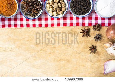 Background ingredient food indian style on wooden table.