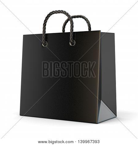 Single empty black blank shopping bag. 3D render illustration isolated on white background