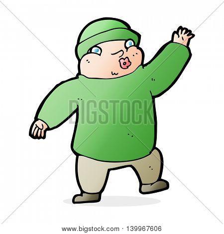 cartoon man in hat waving