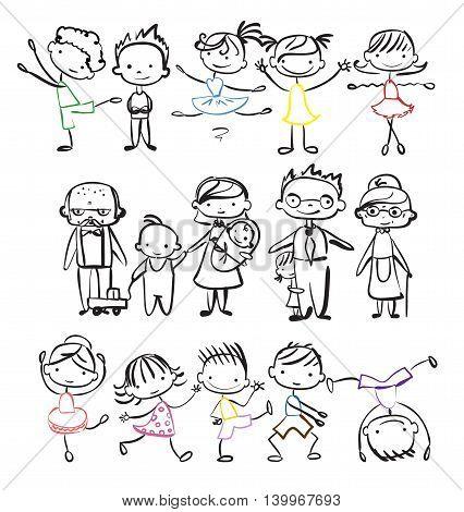 Vector fun children's doodle of happy family.