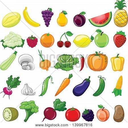 Cartoon colorful and trendy vegetables and fruits