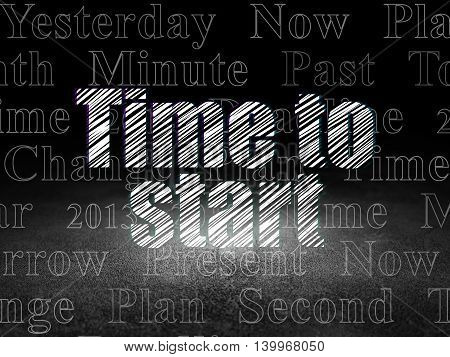 Timeline concept: Glowing text Time to Start in grunge dark room with Dirty Floor, black background with  Tag Cloud