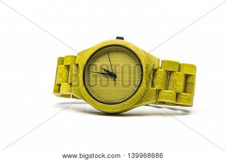 Wrist Wooden watch isolated on a white background