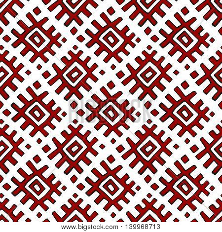 Red geometric Russian traditional ethnic textile seamless pattern