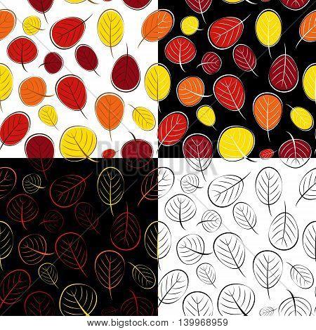 Hand Drawn Autumn Leaves Seamless Pattern Background Set Vector Illustration EPS10