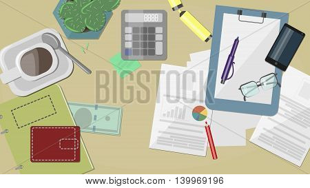 Workplace Documents , notebooks , pens, pencils , calculator , phone , glasses , papers , wallet and money, vector