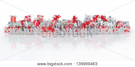 Happy Anniversary Silver Text And Gifts