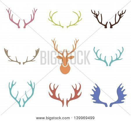 Set of hand drawn deer horns on the white background. Silhouettes of deer antlers vector.