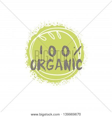 100 Percent Organic Food Product Logo Design. Cool Flat Vector Design Template On White Background